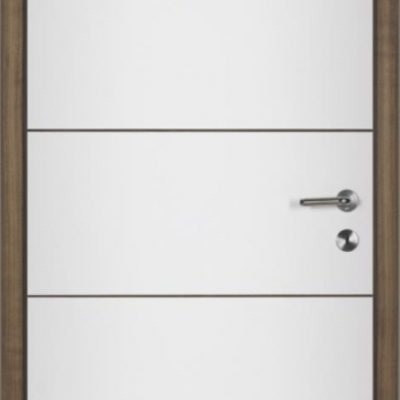 LAIN- Weiß lackiert mit Rillenfräsung waagrecht Nuss