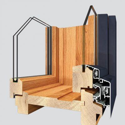 Rahmenpfostenstock Fenster mit Alu